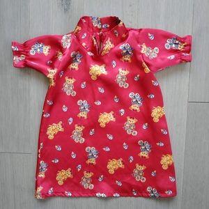 Handmade Kimono Style Girl's Satin Dress, 18m